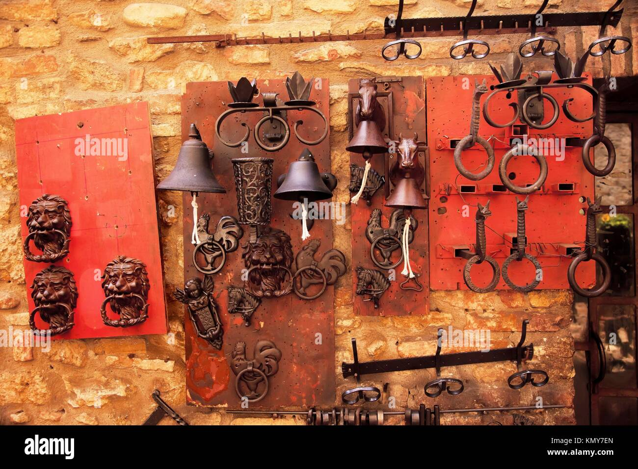 Brass Door Knockers Bells Medieval Stone Town San Gimignano Tuscany Italy    Stock Image