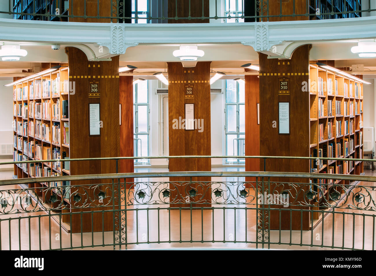 Helsinki, Finland. View Of Floors And Racks With Books In The National Library Of Finland. - Stock Image