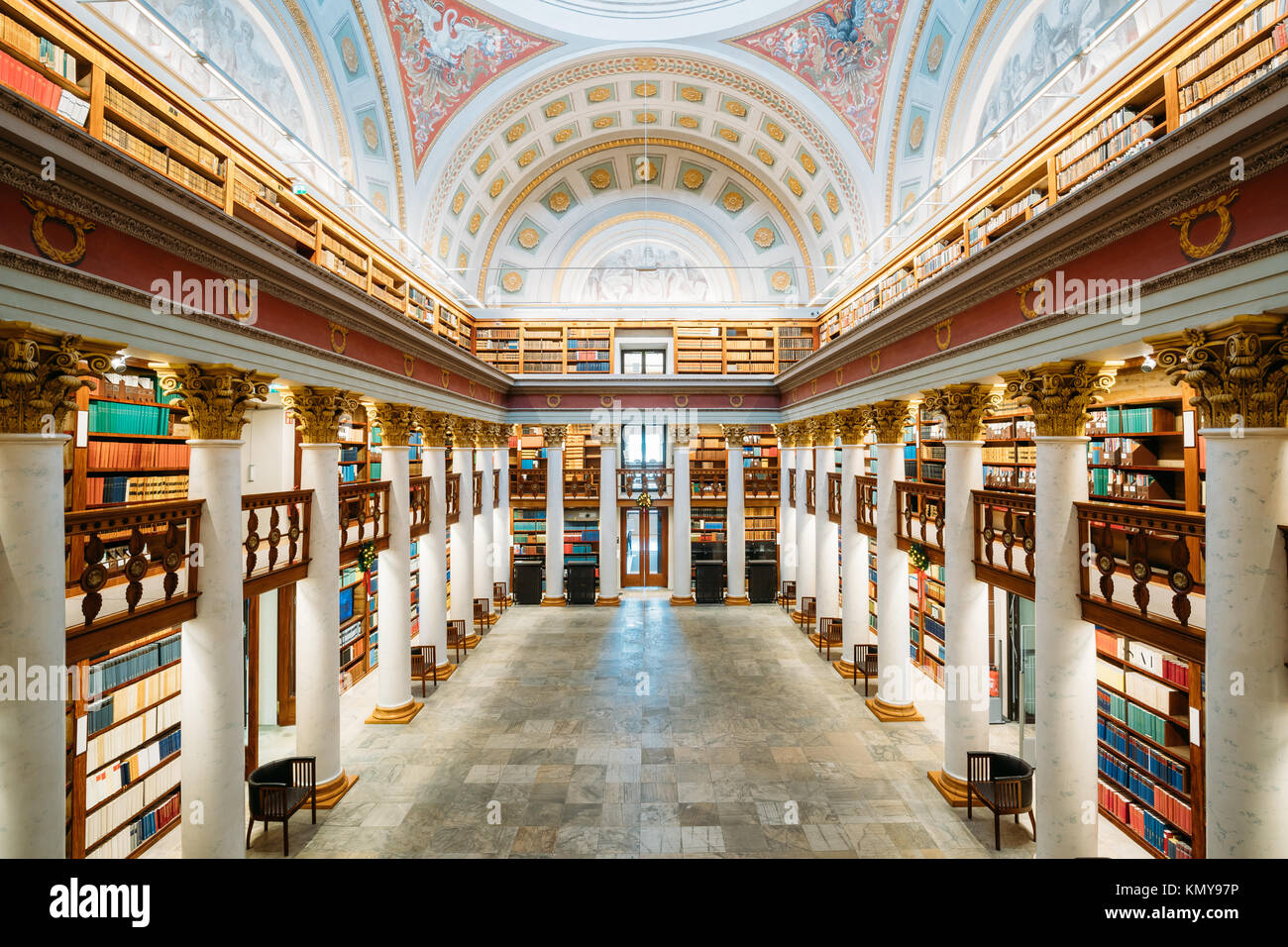 Helsinki, Finland. Hall In The National Library Of Finland. - Stock Image