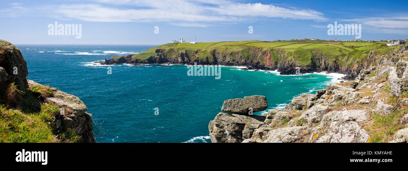 Panoramic shot of Housel Bay Cornwall England with Lizard Point in ...