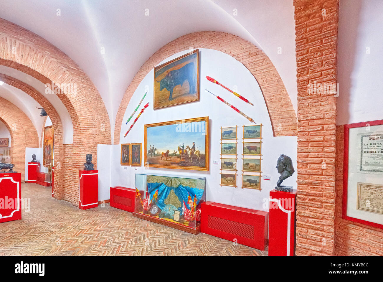 Seville, Spain - June 08, 2017 : Interior bullfighting Museum of the Real Maestranza de Caballeria (Museo Taurino Stock Photo