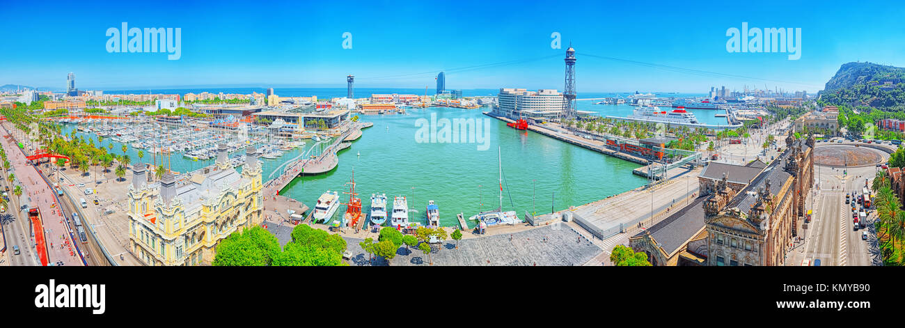 Barcelona, Spain - June 12, 2017 :Barcelona- capital of the autonomy of Catalonia. Panorama from the monument to - Stock Image