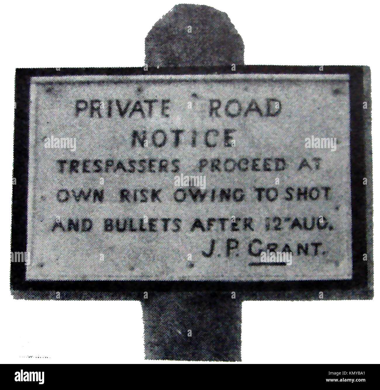 A former Scottish sign at Glen Einich, Cairngorms  region, Scotland-  TRESPASSERS MAY BE SHOT after the 'Glorious - Stock Image