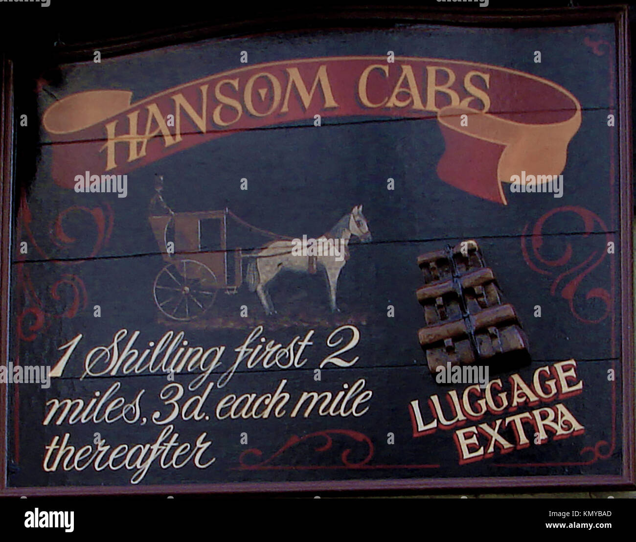 English Hansome Cab sign showing passenger fares - Horse-drawn transport - Stock Image