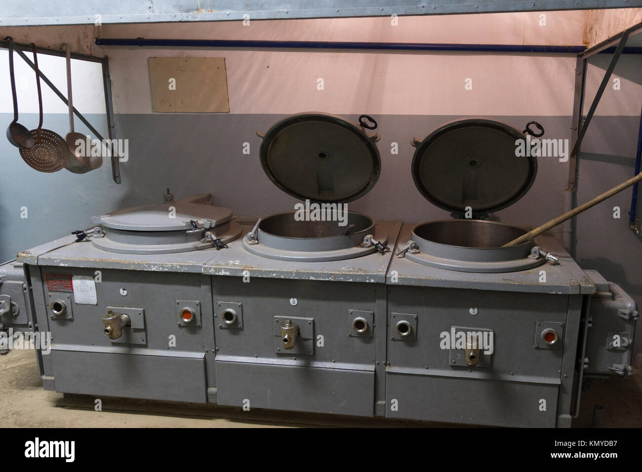 Industrial size cookers in a kitchen at the Maginot Line site of Four à Chaux de Lembach, Alsace - Stock Image