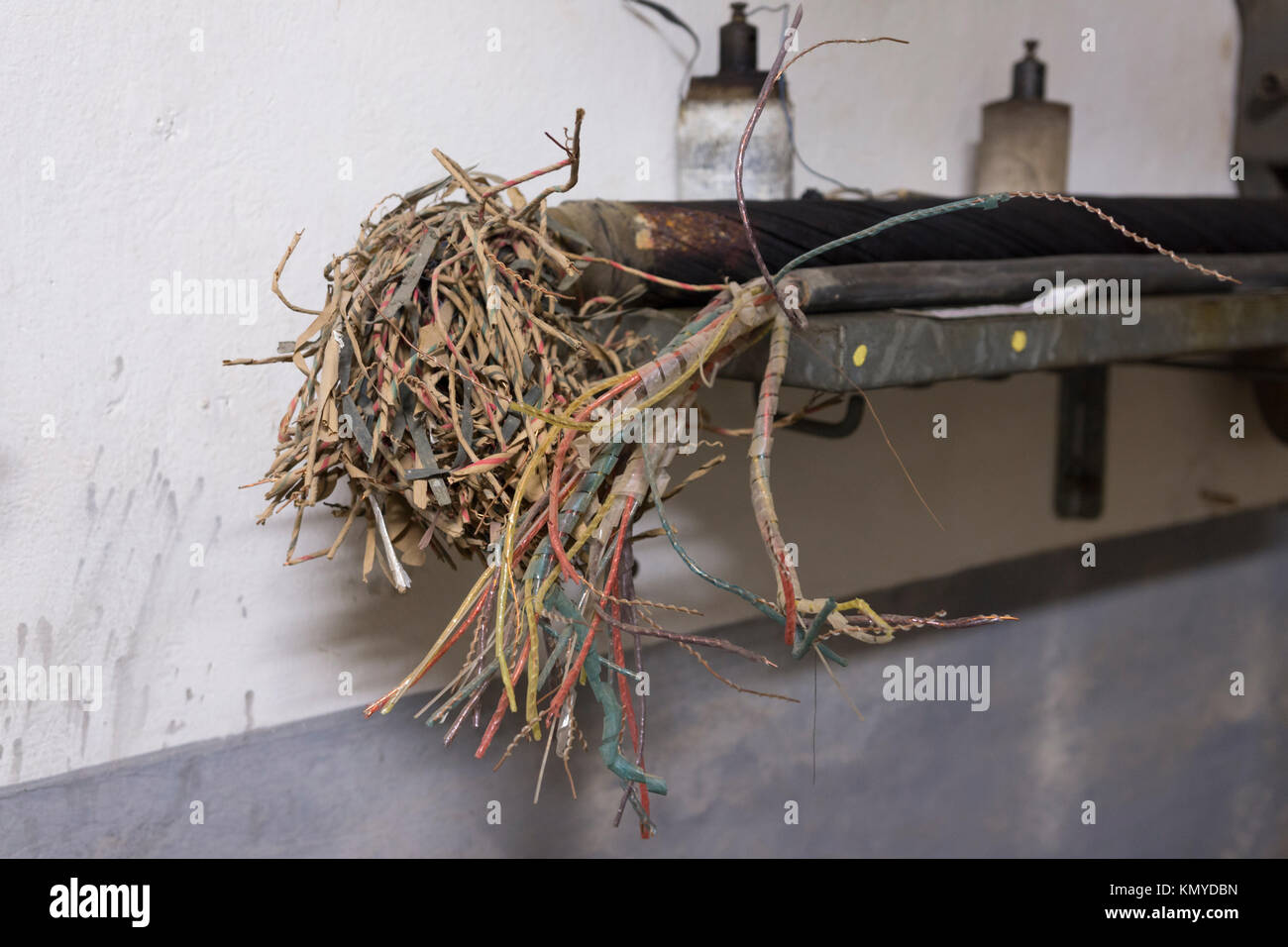 An example of the complex electrical wiring at the Maginot Line site of Four à Chaux de Lembach, Alsace - Stock Image