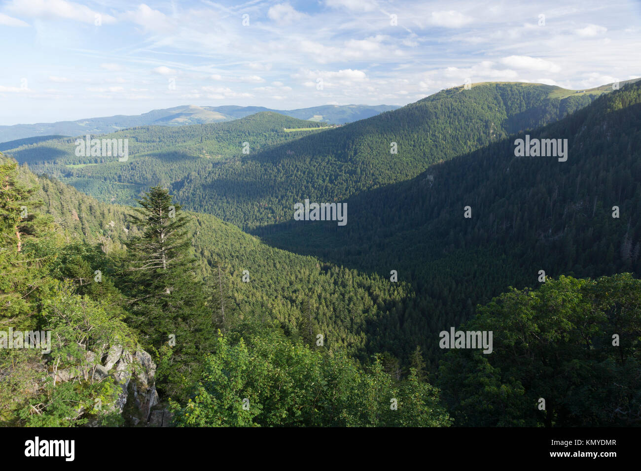 The rounded summits (ballons) of the Parc naturel régional des Ballons des Vosges, popular for driving tours - Stock Image