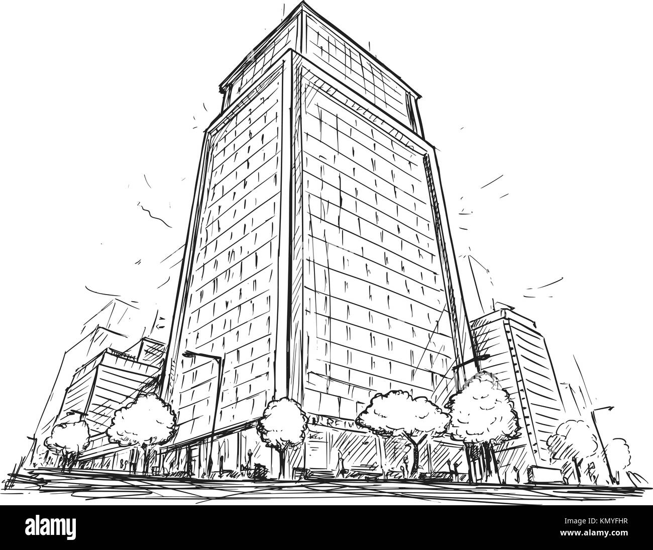 Cartoon vector architectural drawing sketch illustration of city street with high rise building. Stock Vector