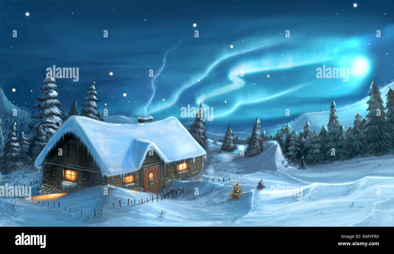 Romantic digital painting of snowy winter christmas winter night cottage in mountains. - Stock Image