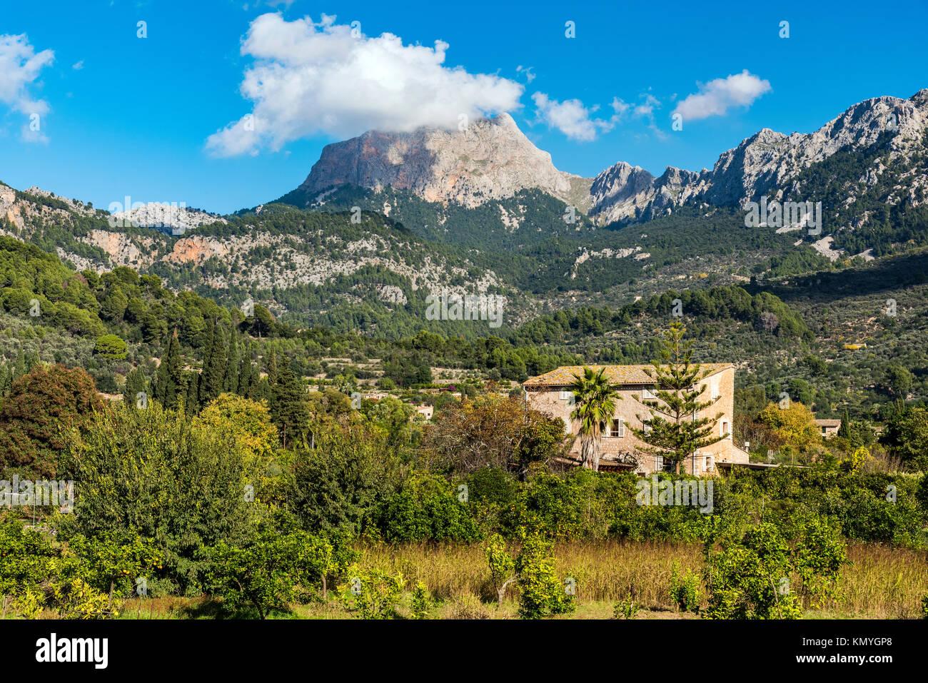 Mount Puig Major, the highest peak on Majorca, located in the Serra de Tramuntana mountain range, Fornalutx, Majorca, - Stock Image