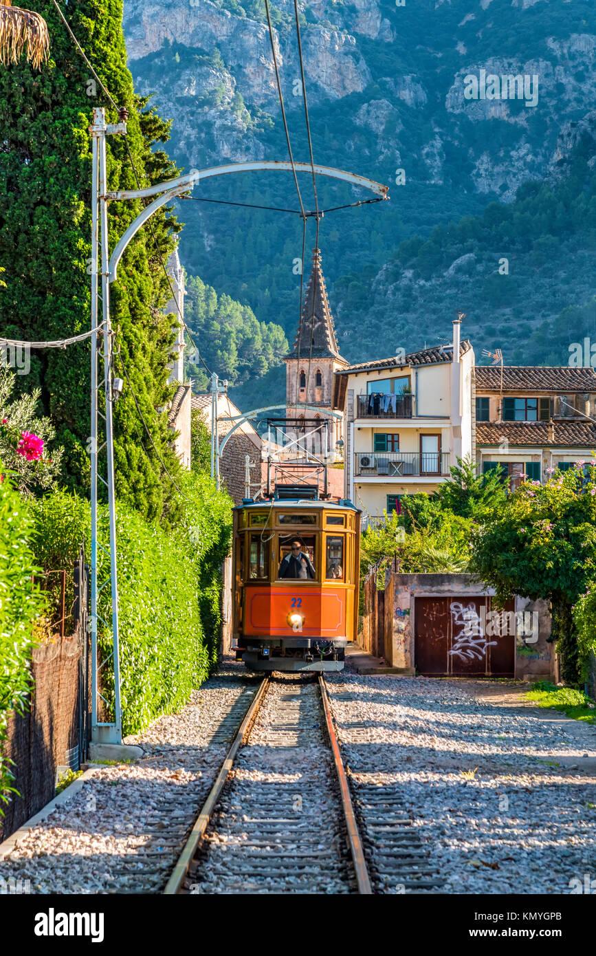 Tranvia de Soller heritage tramway, Soller, Majorca, Balearic Islands, Spain - Stock Image