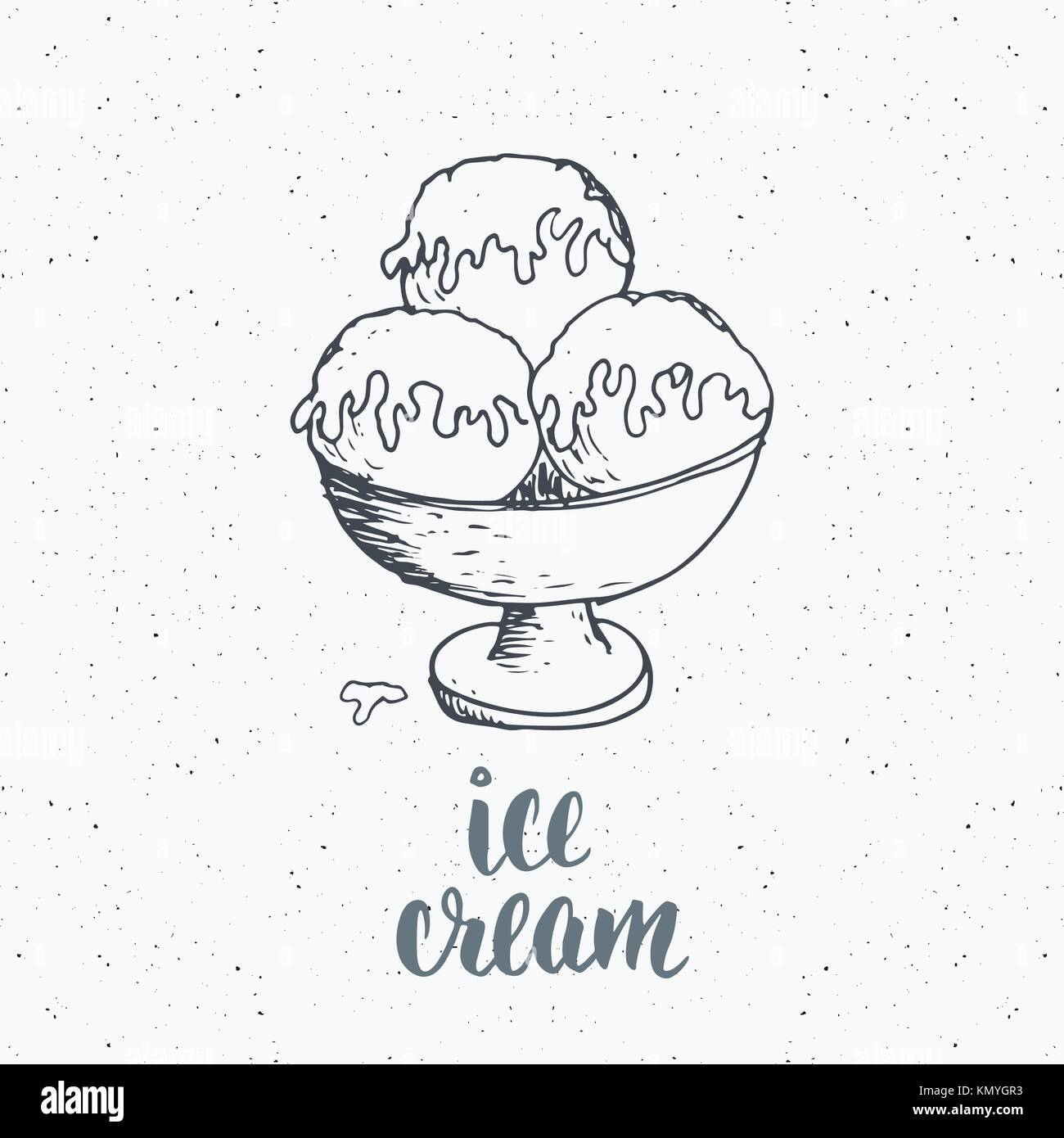 Ice cream with lettering sketch, Vintage label, Hand drawn