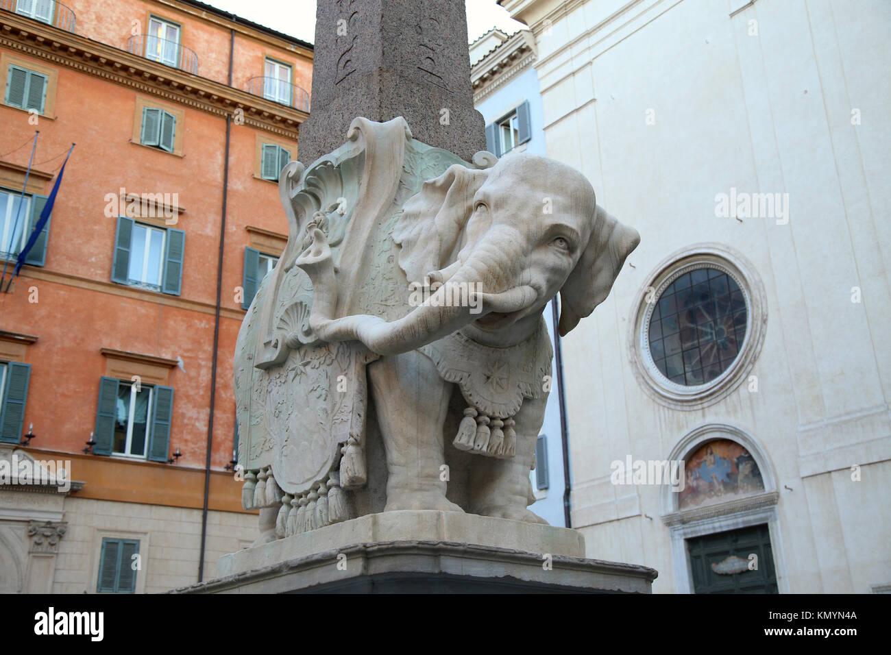 Monument of Elephant by Bernini on Piazza della Minerva in Rome, Italy Stock Photo