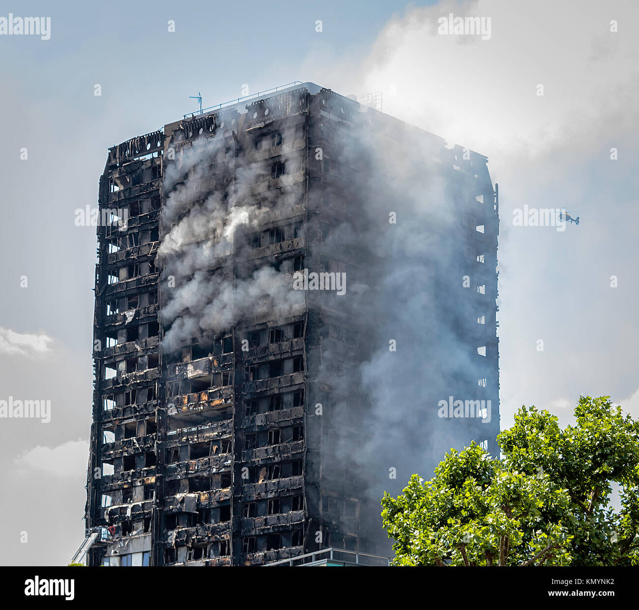 Grenfell Tower Fire, West London, United Kingdom. 14th June, 2017 - Stock Image