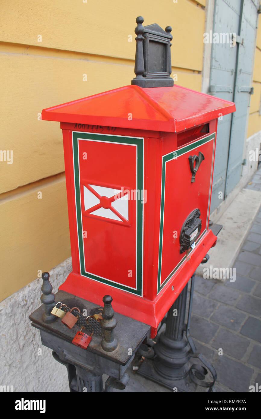 Red Mailbox in Budapest, Hungary Stock Photo