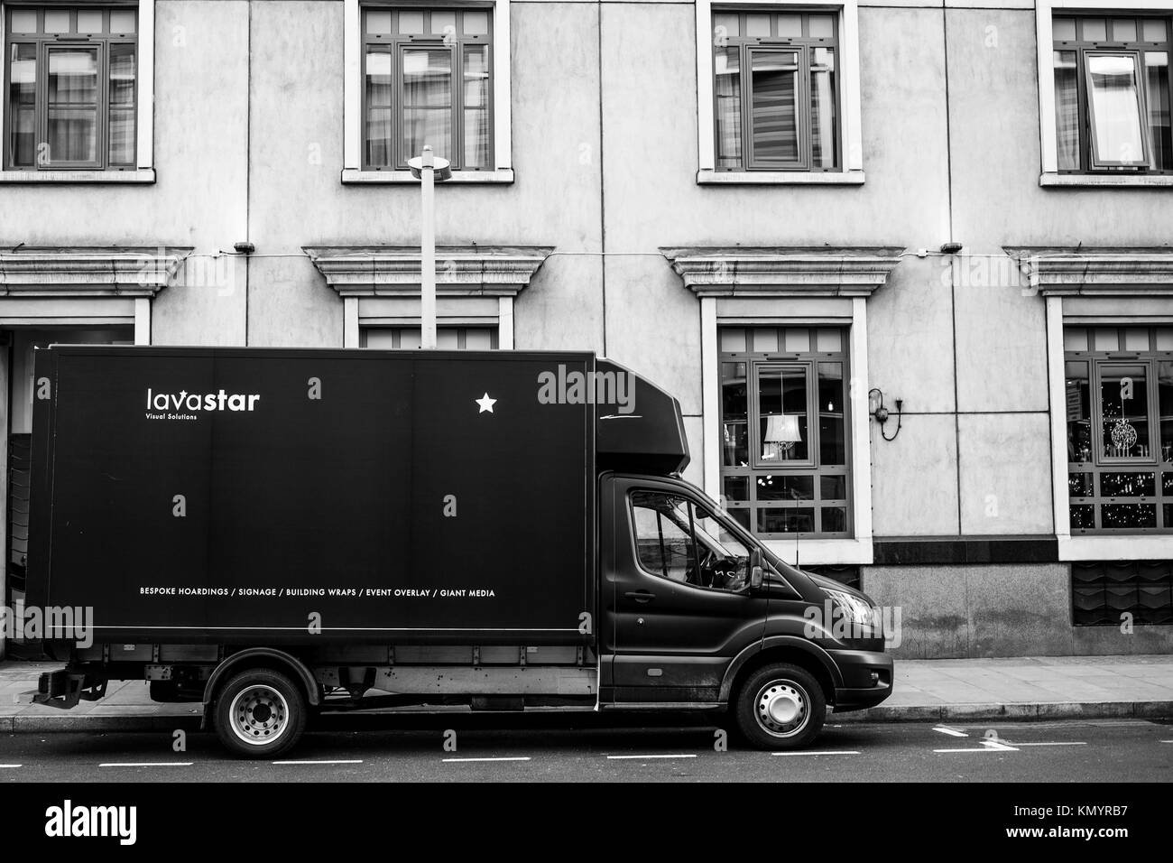 Delivery Van or Truck Parked Outside A Building in Southwark London - Stock Image