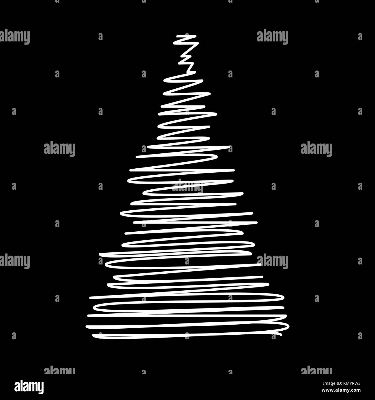 Christmas tree scribble design isolated on black background - Stock Image