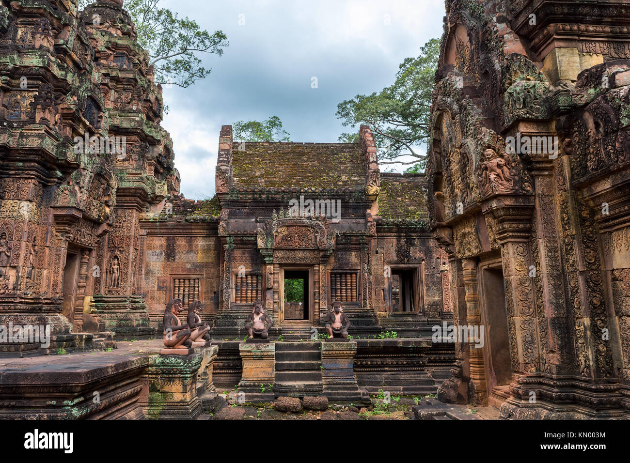 A view of Banteay Srei temple, famous for its wall carvings, situated near Siem Reap, Cambodia. - Stock Image