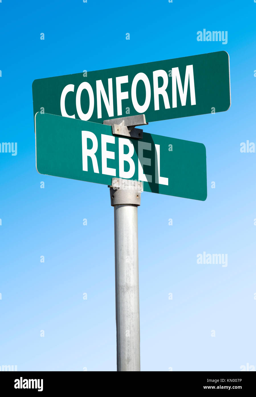 conform and rebel sign - Stock Image