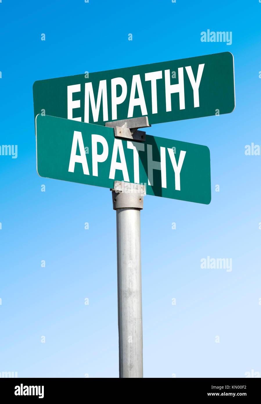 empathy and apathy sign - Stock Image