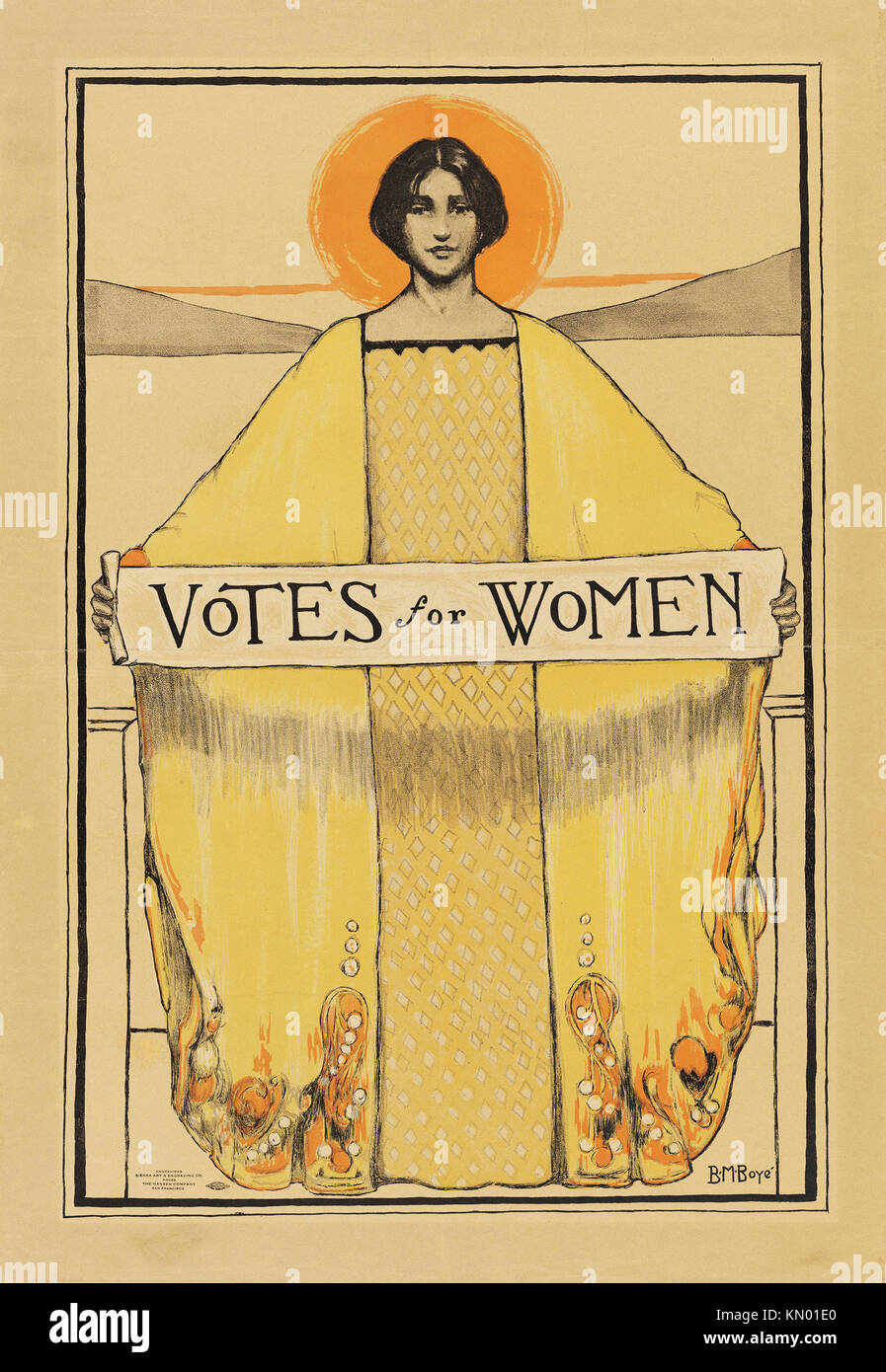 'Votes for Women' poster dated 1911 by B. M Boyce - Stock Image