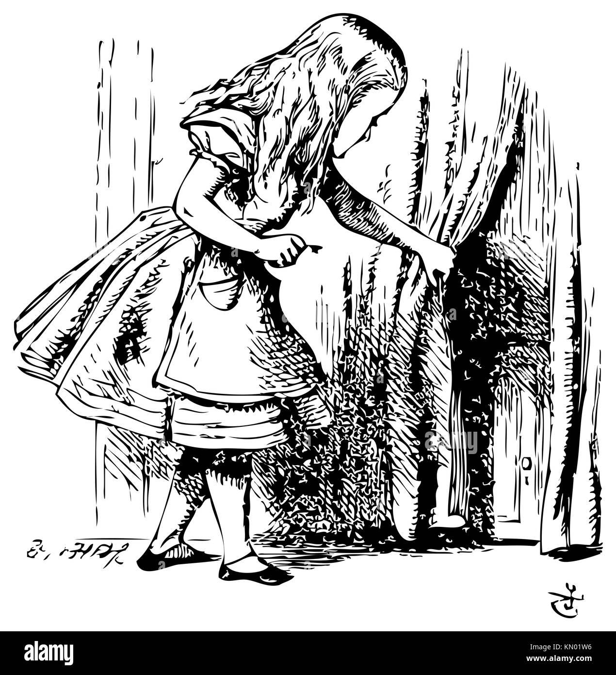 Alice in Wonderland Alice is looking behind a curtain to reveal a hidden door Alice´s Adventures in Wonderland Illustration from John Tenniel  sc 1 st  Alamy & Alice in Wonderland Alice is looking behind a curtain to reveal a ...