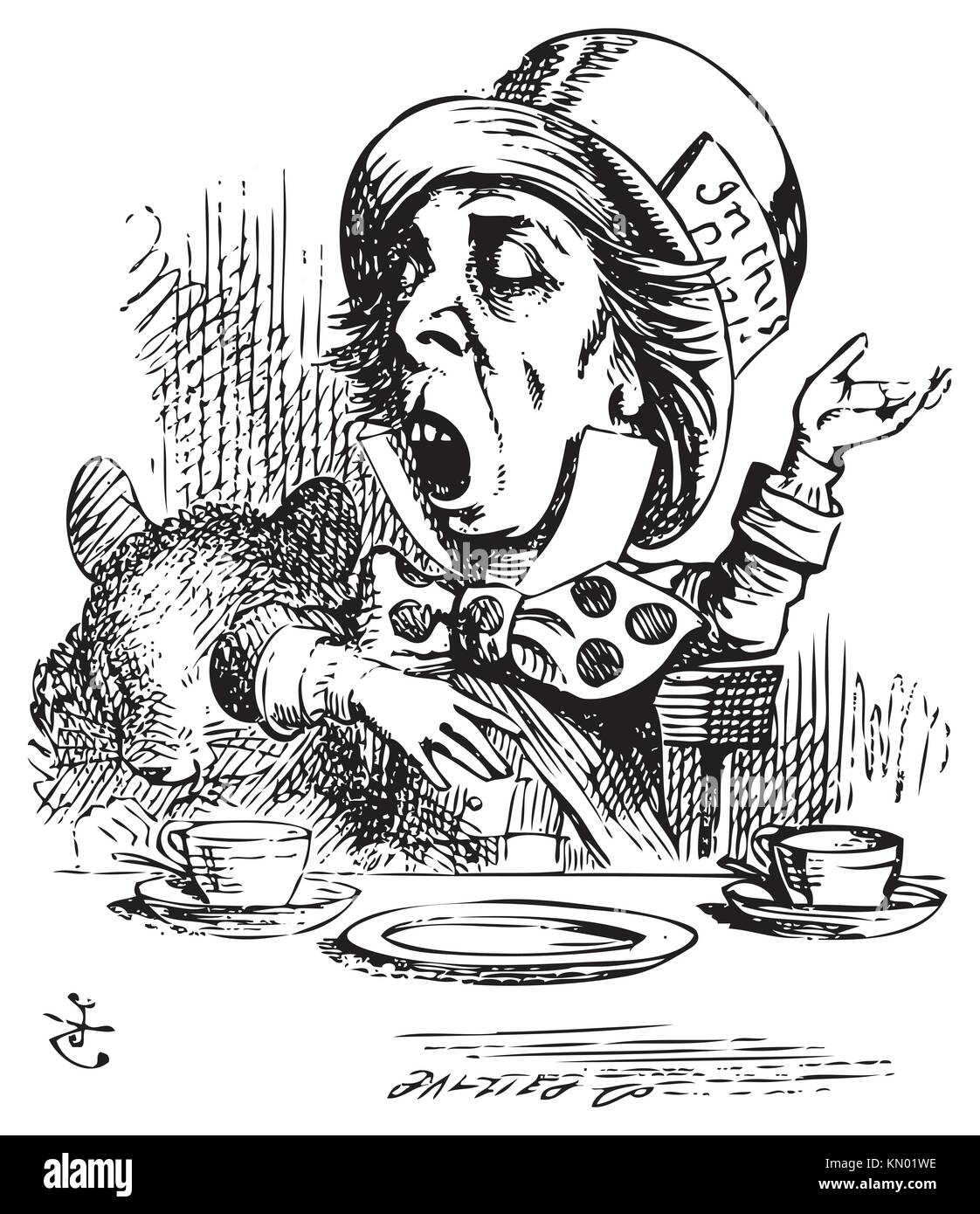 Hatter engaging in rhetoric  Mad Hatter is telling a story to Alice and his friends  Alice in Wonderland original - Stock Image