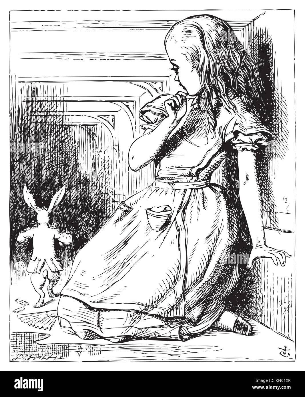 Alice in Wonderland  Alice grown big looking at the White Rabbit returning, splendidly dressed  Alice´s Adventures - Stock Image