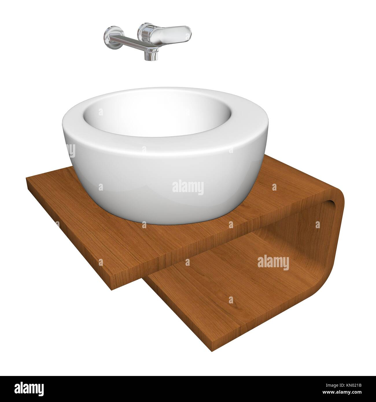 Modern bathroom sink set with ceramic or acrylic wash bowl, chrome fixtures, and wooden base, 3d illustration, isolated - Stock Image
