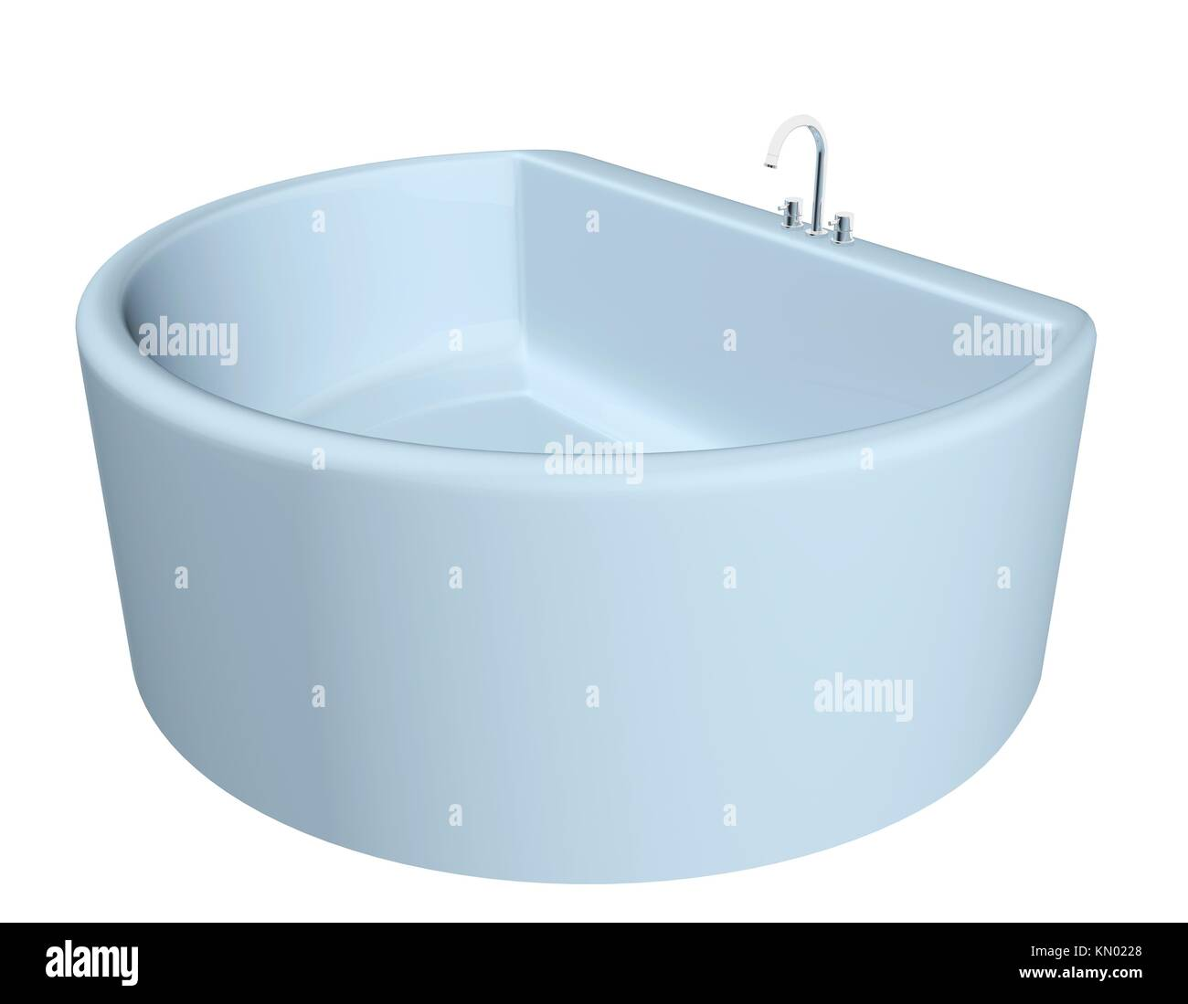 White semi-circular modern bathtub with stainless steel fixtures ...