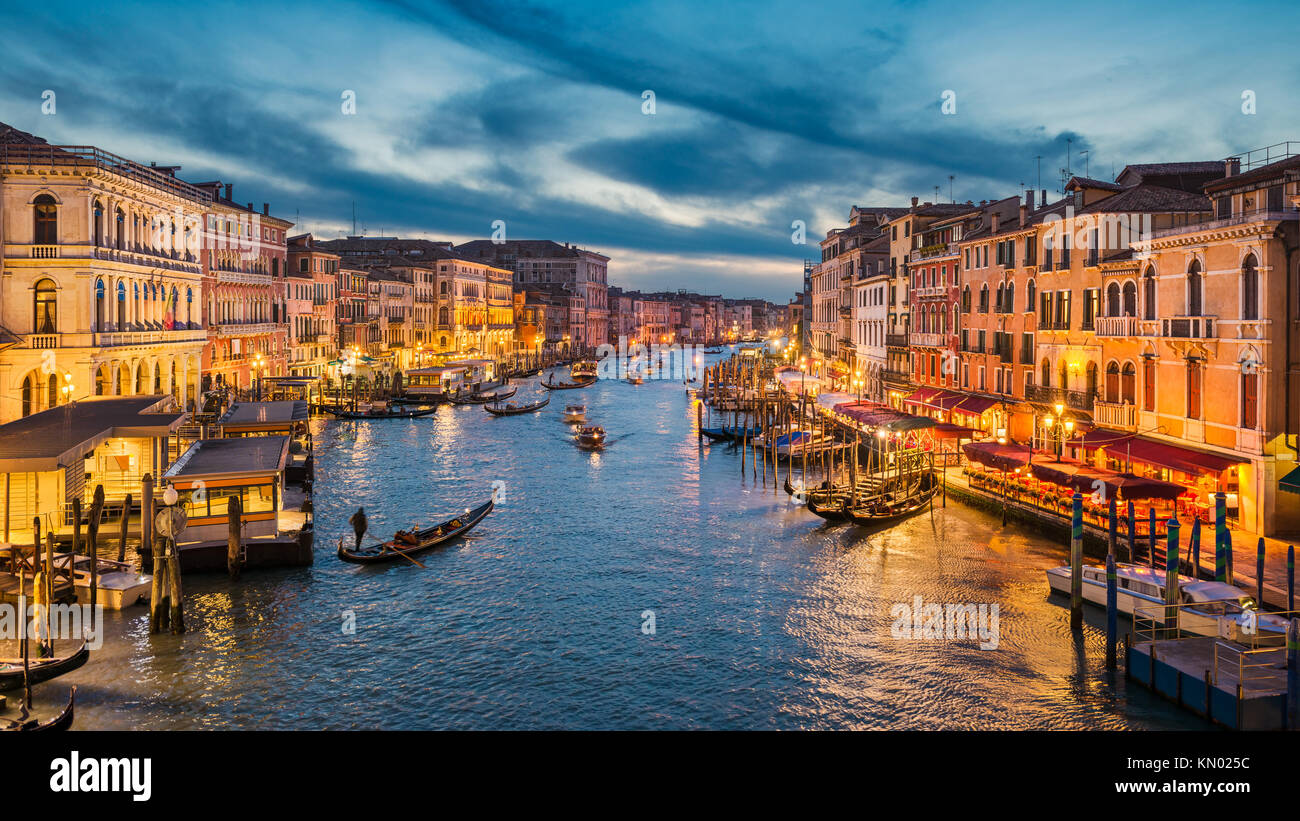 Grand Canal at night with a gondola, Venice, Italy - Stock Image