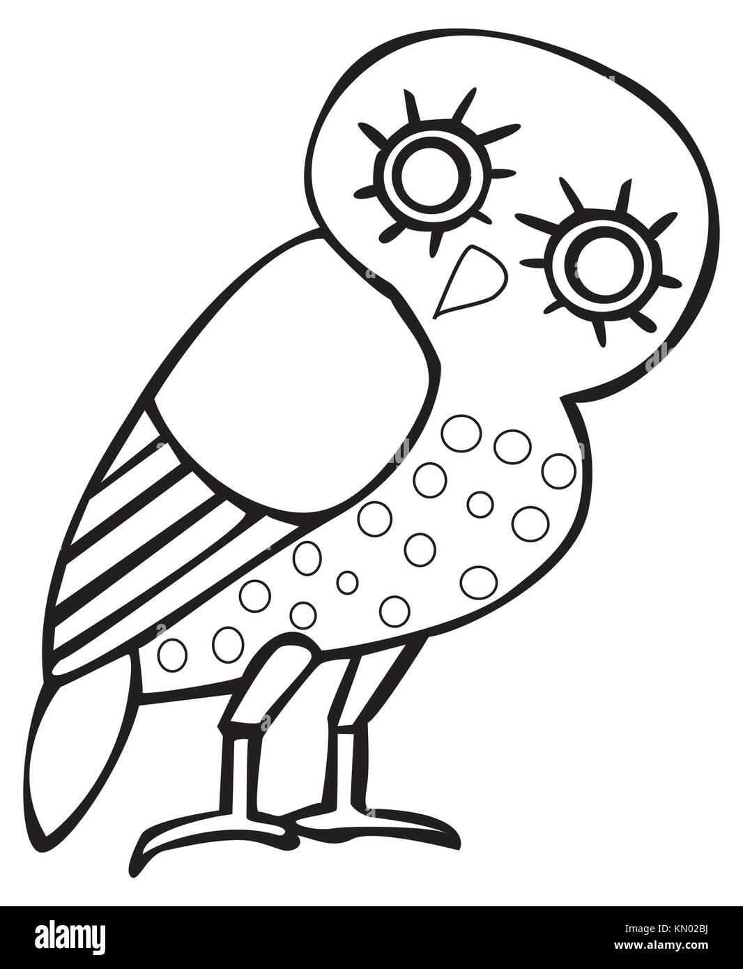 Greek owl sign, symbol - Stock Image