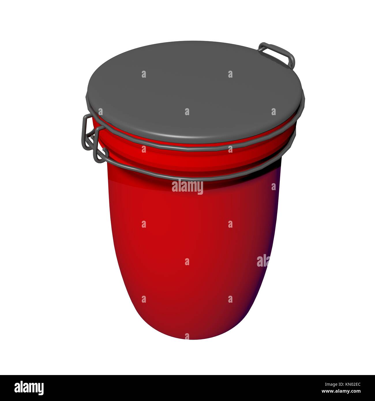 Red and grey jar with lid lock, 3D illustration, isolated against a white background - Stock Image