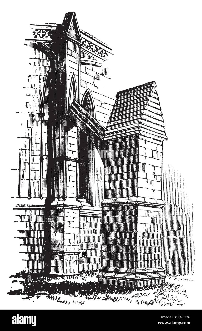 Buttress arch of Lincoln Cathedral chapter, England  Old engraving  Old engraved illustration of a buttres arch Stock Photo