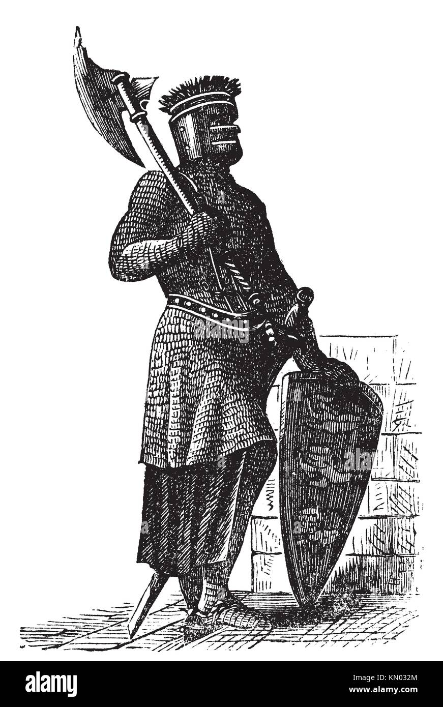 Armor and weapons during the first Crusades era, old engraving  Vector, engraved illustration of Crusade knight, - Stock Image