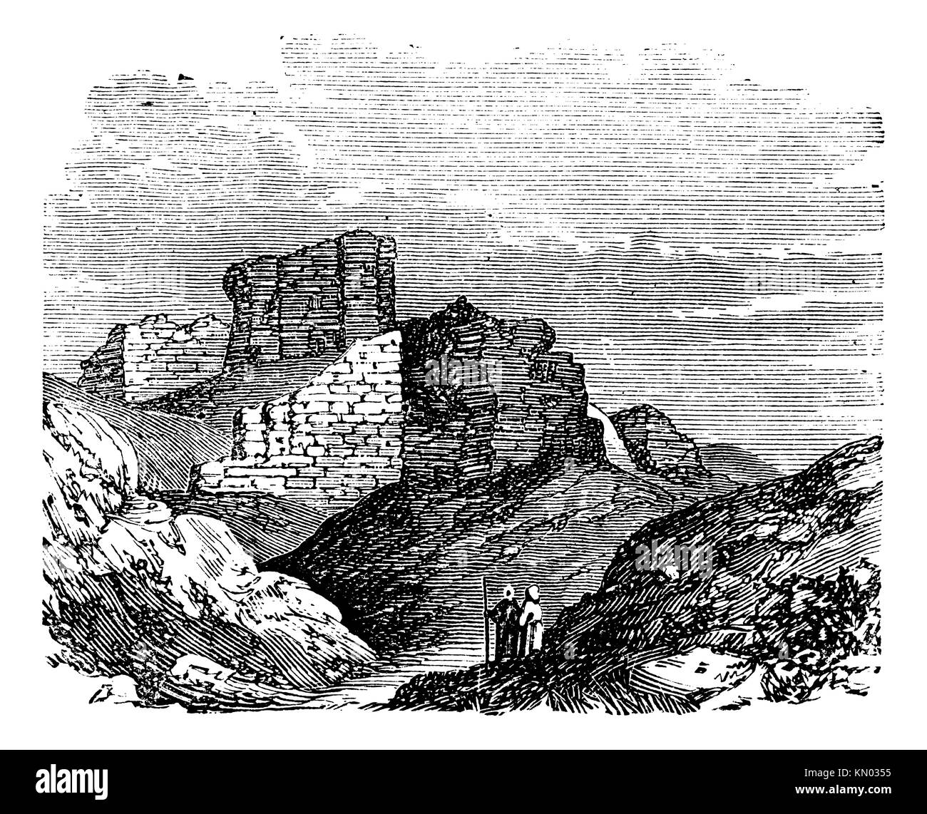 Ruins of the Main Palace in Babylonia in Babil, Iraq, during the 1890s, vintage engraving  Old engraved illustration - Stock Image