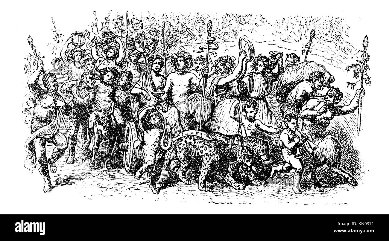 Bacchanalia, a wild and mystic festivals of the Greco-Roman god Bacchus vintage engraving  Old engraved illustration Stock Photo