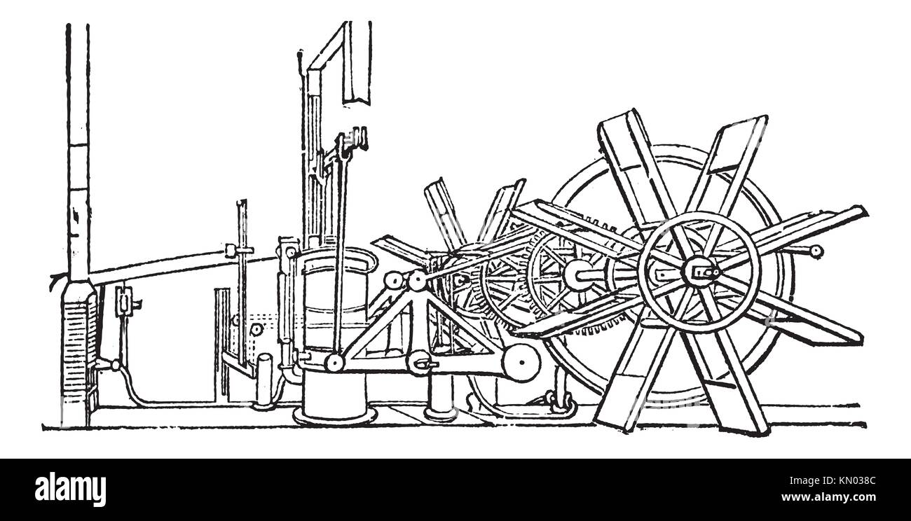 clermont steam ship paddle wheel unit vintage engraving old engraved KN038C steamboat clermont stock photos & steamboat clermont stock images