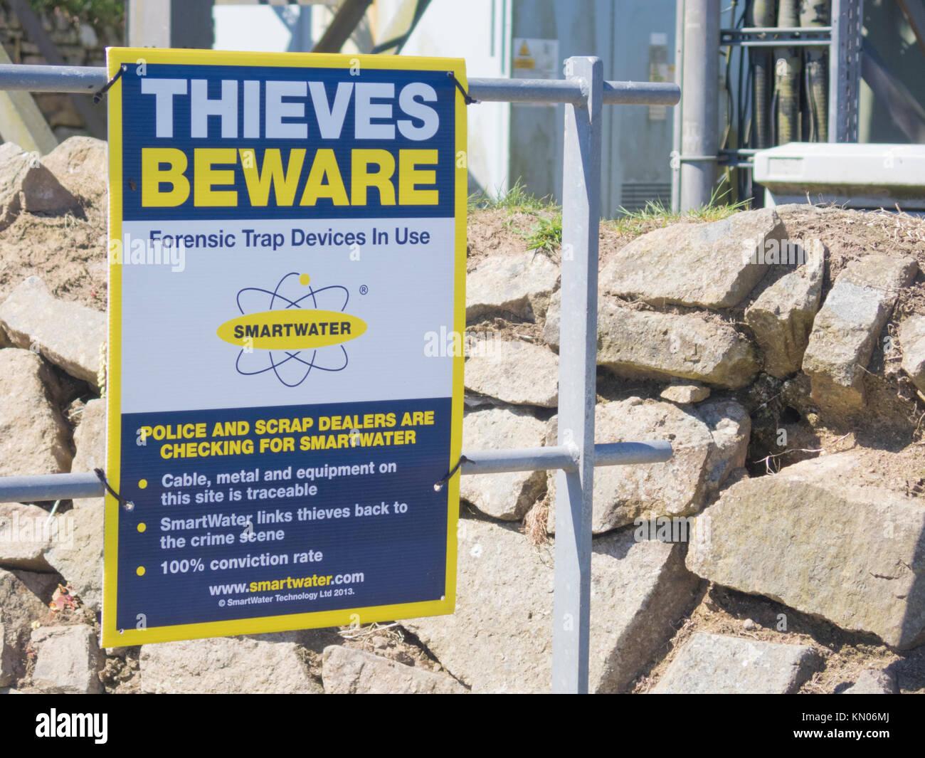 Anti Metal Theft SmartWater Sign, UK - Stock Image
