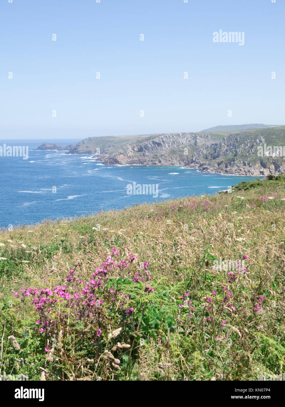 View of Trevean Cliff & Bosigran Cliff from Morvah Cliff, West Cornwall, England, UK in Summer Stock Photo