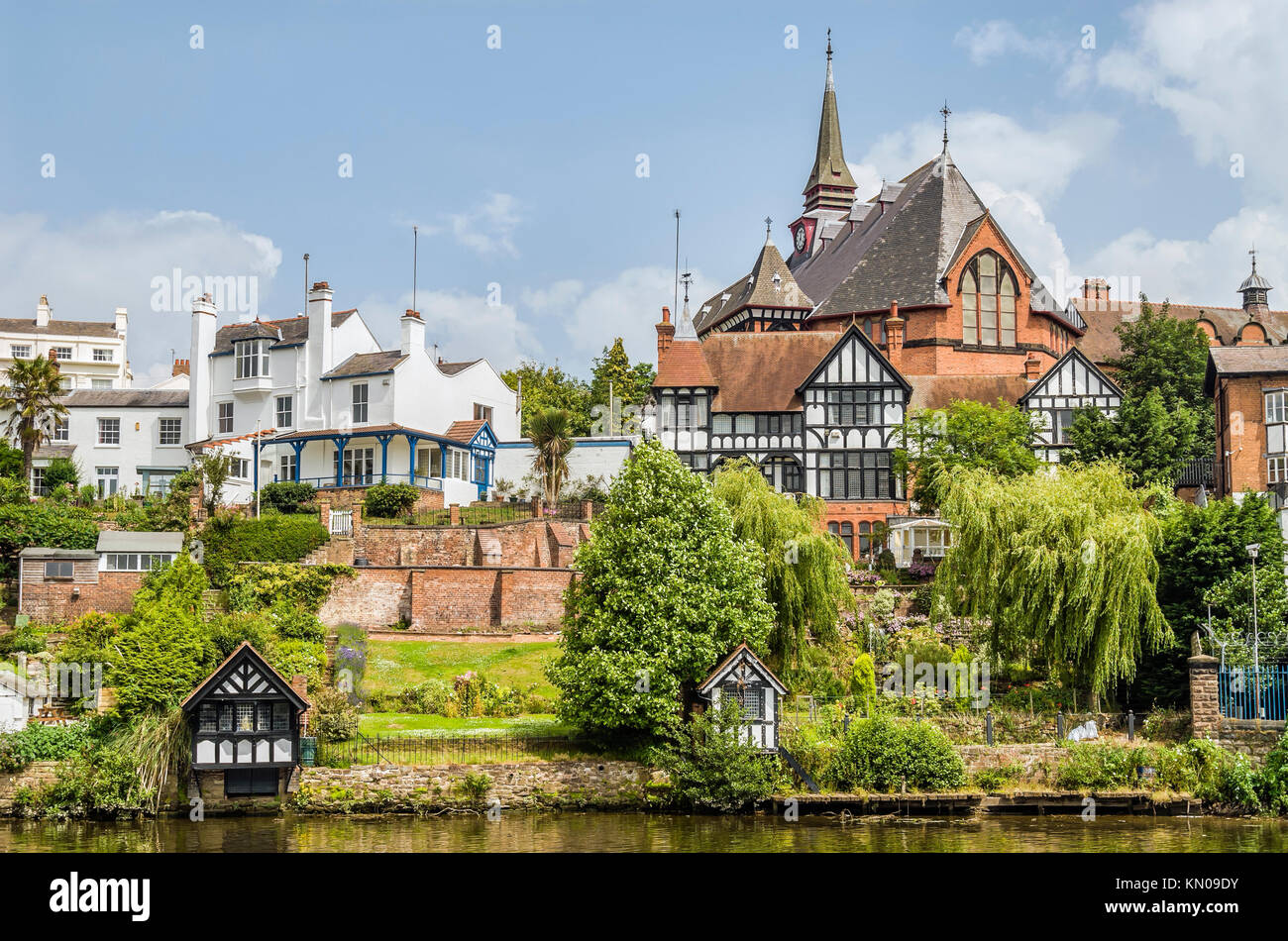 Historical riverside mansions along the River Dee in Chester, Chesire, England Stock Photo