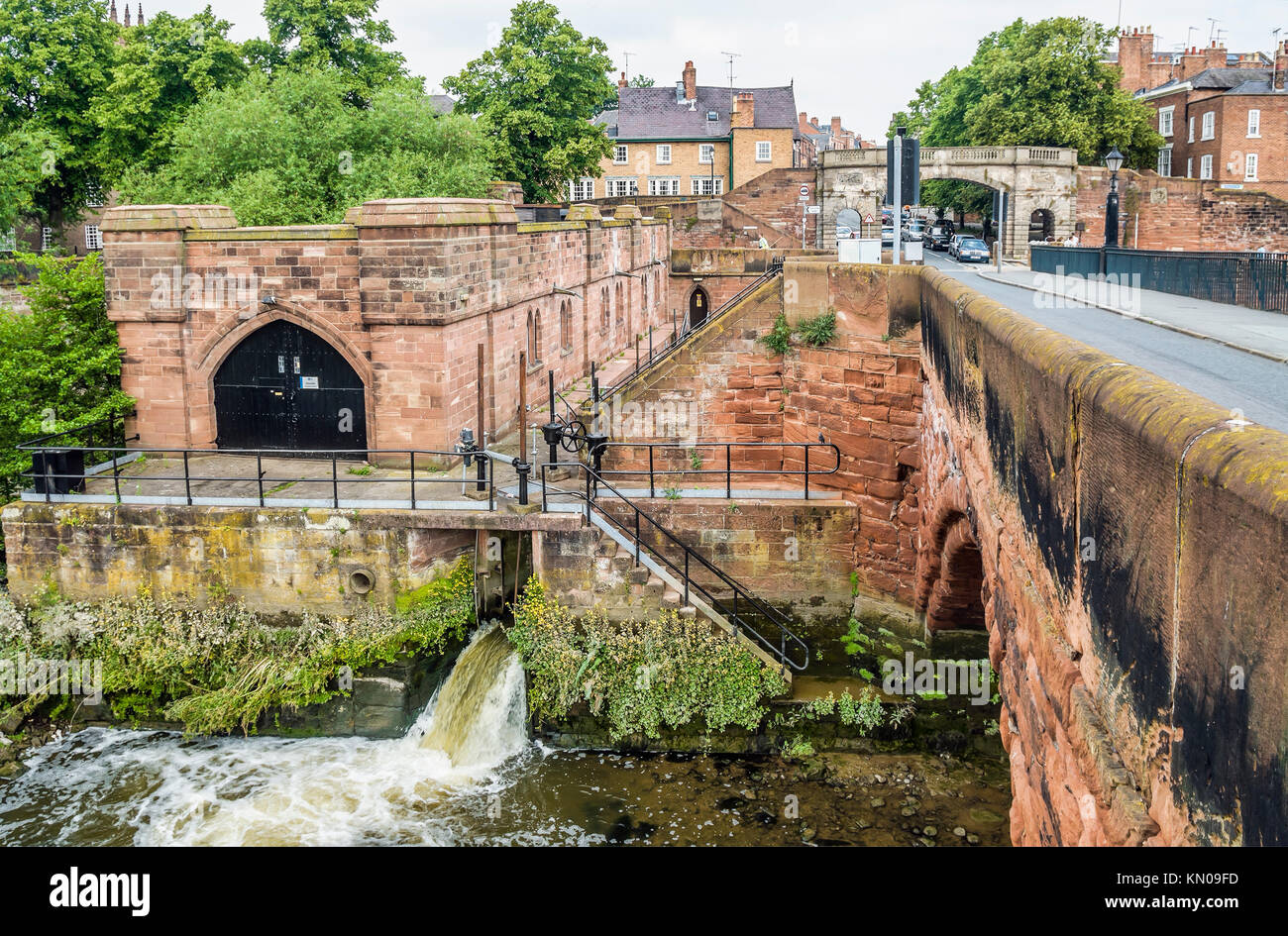 Hydroelectric power station next to the Old Dee Bridge at the River Dee that replaced the Old Dee Mills in Chester, - Stock Image