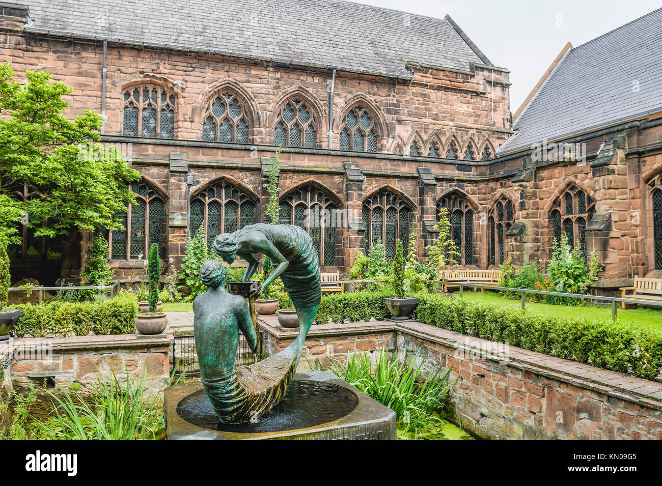 Sculptures at the Garden of Rememberance at in the cloister garth of Chester Cathedral, Cheshire, North West England. Stock Photo