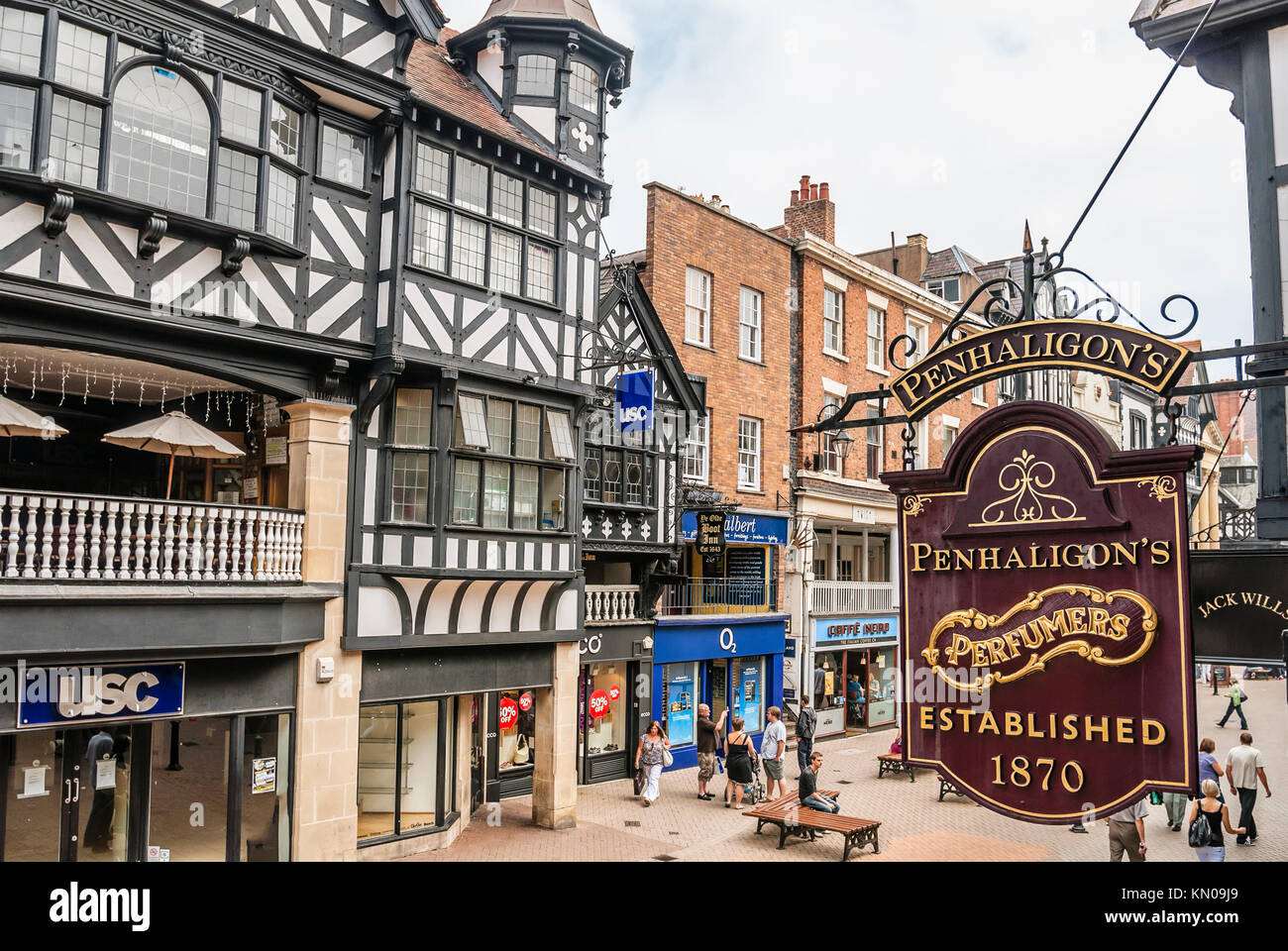 Old shop sign at the historical town centre of Chester, Cheshire, North West England.   Antikes Ladenschild in der - Stock Image