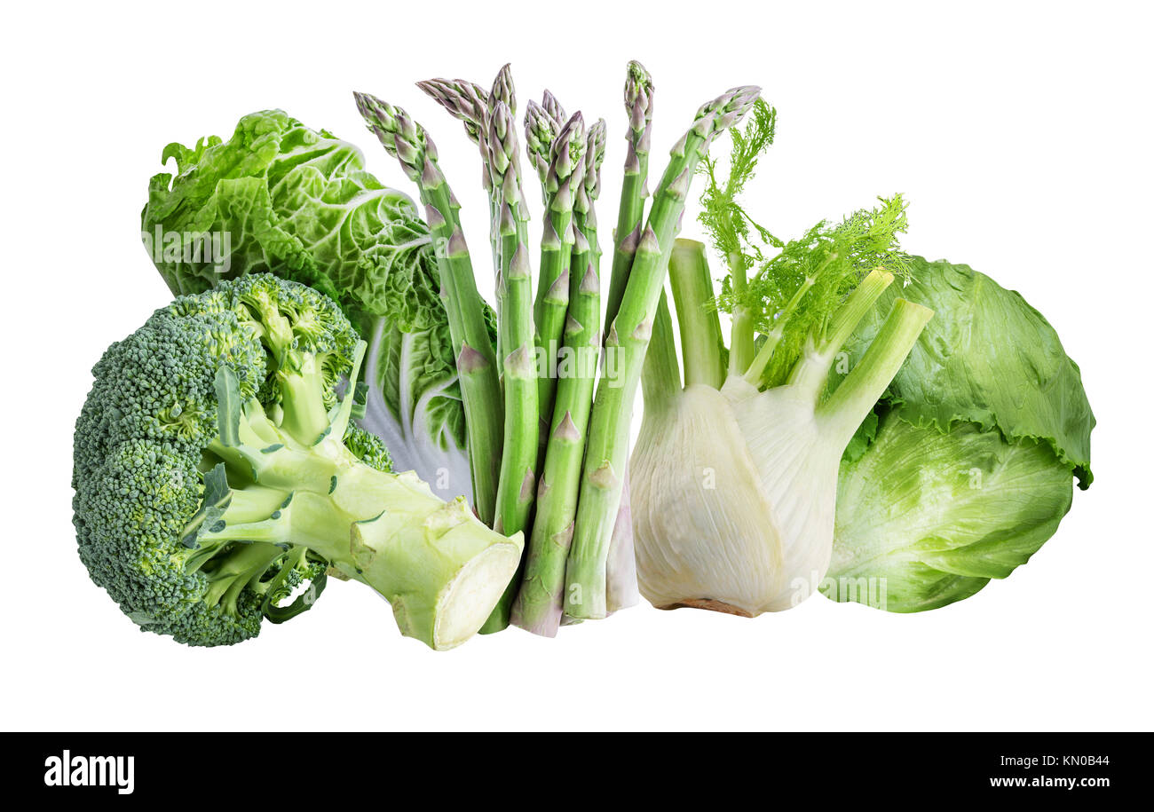 Vegetables isolated on white background with clipping path Stock Photo