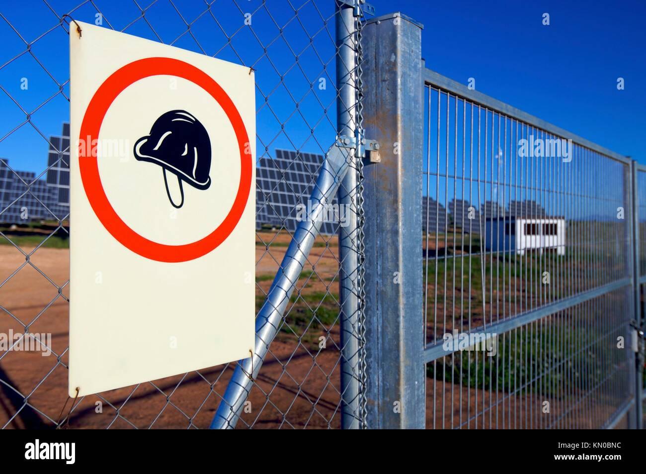 poster for mandatory use of helmets, Cosuenda, Zaragoza, Aragon, Spain - Stock Image