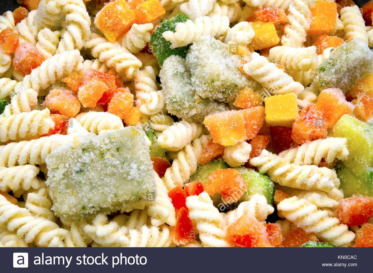 Frozen ready cooked pasta Stock Photo