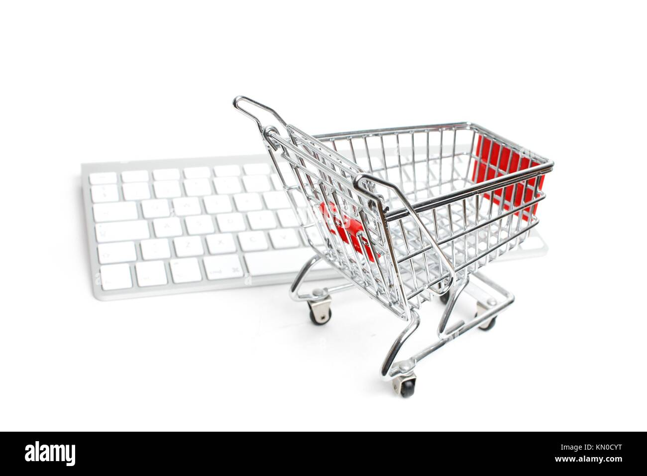 Online shopping illustrated conceptually - Stock Image