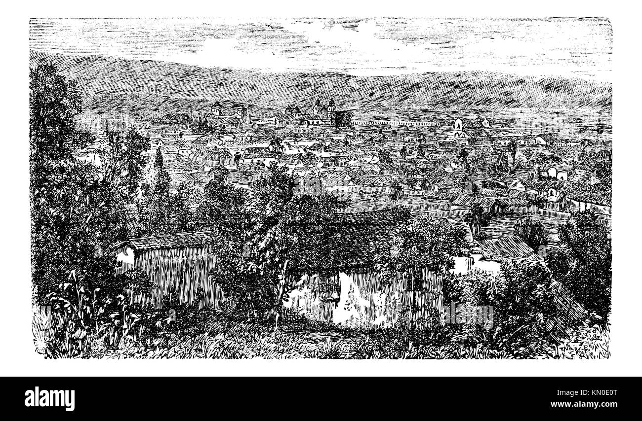 Bogota city, capital of Colombia, vintage engraving in the 1890s, South Ameold engraved illustration  City outskirt - Stock Image