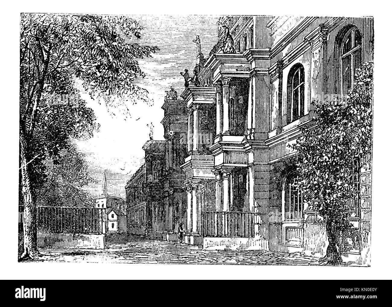 University of Bonn, Bonn, Germany vintage engraving  Old engraved illustration of University of Bonn, Germany, 1890s - Stock Image